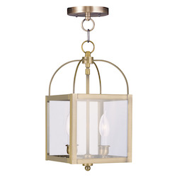 Livex Lighting Antique Brass Foyer Hall Semi-Flush Mount