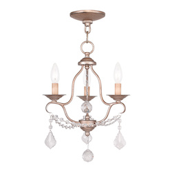 Livex Lighting Three Light Antique Silver Leaf Up Mini Chandelier