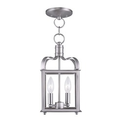 Livex Lighting Two Light Brushed Nickel Framed Glass Foyer Hall Fixture