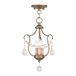 Livex Lighting Three Light Antique Gold Leaf Up Chandelier