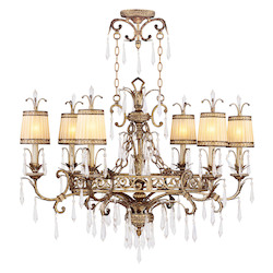Livex Lighting Vintage Gold Leaf Up Chandelier