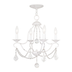 Livex Lighting Four Light Antique White Up Mini Chandelier