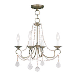 Livex Lighting Four Light Antique Brass Up Chandelier