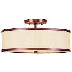 Livex Lighting Vintage Bronze Drum Shade Semi-Flush Mount