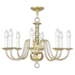 Livex Lighting Polished Brass 8 Light 480W Chandelier With Candelabra Bulb Base