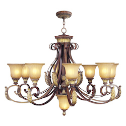 Livex Lighting Verona Bronze / Gold Leaf Villa Verona 8 Light 1 Tier Chandelier