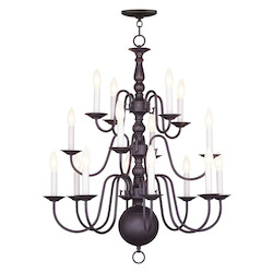 Livex Lighting Bronze 16 Light 640W Chandelier With Candelabra Bulb Base