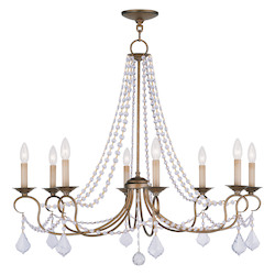 Livex Lighting Antique Gold Leaf Pennington 8 Light 1 Tier Chandelier