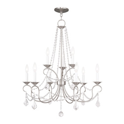 Livex Lighting Nine Light Brushed Nickel Up Chandelier
