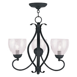 Livex Lighting Black Brookside Up Lighting 1 Tier Chandelier With 3 Lights