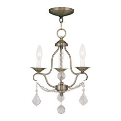 Livex Lighting Antique Brass Chesterfield 3 Light 1 Tier Mini Chandelier