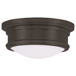 Livex Lighting Bronze Drum Shade Flush Mount