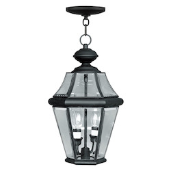 Livex Lighting Black Georgetown 2 Light Outdoor Pendant
