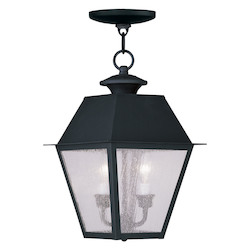 Livex Lighting Black Mansfield Outdoor Pendant With 2 Lights