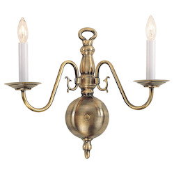 Livex Lighting Antique Brass 2 Light 120W Up Lighting Wall Sconce With Candelabra Bulb Base