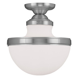 Livex Lighting Brushed Nickel Oldwick 11.25 Inch Tall Semi-Flush Ceiling Fixture With 1 Light