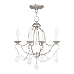 Livex Lighting Four Light Brushed Nickel Up Mini Chandelier