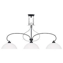 Livex Lighting Black Brookside Island / Billiard Fixture With 3 Lights
