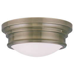 Livex Lighting Antique Brass 6.5 Inch Tall Flush Mount Ceiling Fixture With 3 Lights