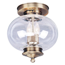 Livex Lighting Antique Brass Harbor 3 Light Semi-Flush Ceiling Fixture