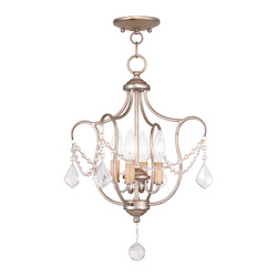 Livex Lighting Four Light Antique Silver Leaf Up Chandelier