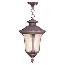 Livex Lighting Imperial Bronze 3 Light 180 Watt Outdoor Pendant With Light Amber Water Glass