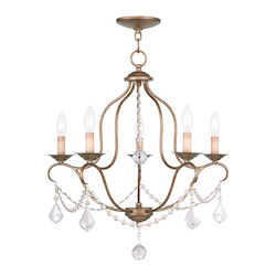 Livex Lighting Five Light Antique Gold Leaf Up Chandelier