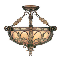 Livex Lighting Palacial Bronze With Gilded Accents Bowl Semi-Flush Mount
