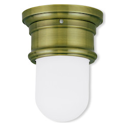 Livex Lighting Antique Brass 8.5 Inch Tall Flush Mount Ceiling Fixture With 1 Light
