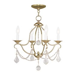 Livex Lighting Four Light Polished Brass Up Mini Chandelier