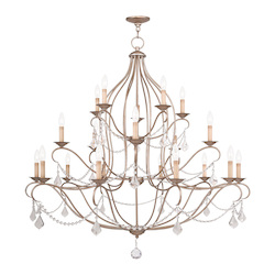 Livex Lighting Twenty Light Antique Silver Leaf Up Chandelier