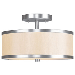 Livex Lighting Brushed Nickel Park Ridge 2 Light Semi-Flush Ceiling Fixture