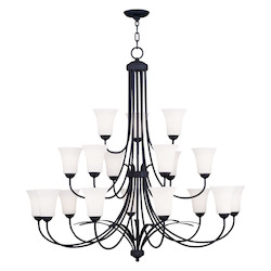 Livex Lighting Black Ridgedale Up Lighting 3 Tier Chandelier With 18 Lights
