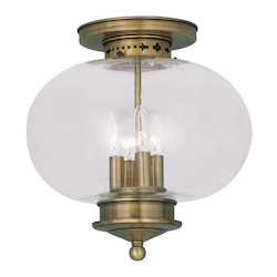 Livex Lighting Antique Brass Harbor 4 Light Semi-Flush Ceiling Fixture