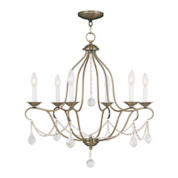 Livex Lighting Antique Brass Chesterfield 6 Light 1 Tier Chandelier