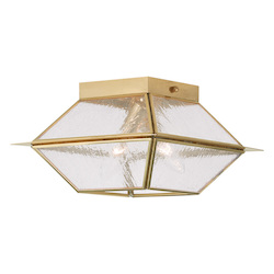 Livex Lighting Two Light Polished Brass Cage Flush Mount