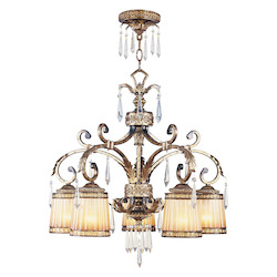 Livex Lighting Vintage Gold Leaf Down Chandelier