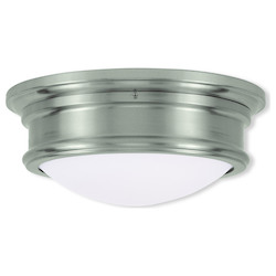Livex Lighting Brushed Nickel Drum Shade Flush Mount
