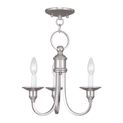 Livex Lighting Three Light Polished Nickel Up Mini Chandelier