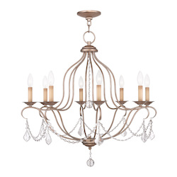 Livex Lighting Eight Light Antique Silver Leaf Up Chandelier