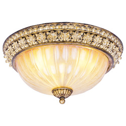 Livex Lighting Vintage Gold Leaf Bowl Flush Mount