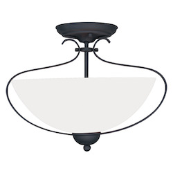 Livex Lighting Black Brookside 11.5 Inch Tall Semi-Flush Ceiling Fixture With 2 Lights