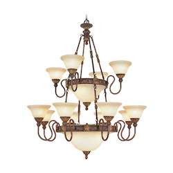 Livex Lighting Crackled Greek Bronze With Aged Gold Accents Up Chandelier
