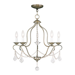 Livex Lighting Antique Brass Chesterfield 5 Light 1 Tier Chandelier