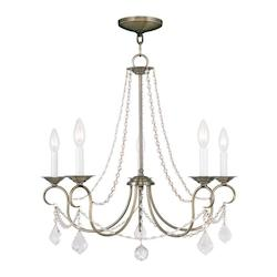 Livex Lighting Antique Brass Pennington 5 Light 1 Tier Chandelier