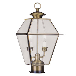 Livex Lighting Antique Brass Westover 2 Light Outdoor Post Light