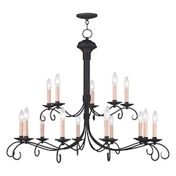 Livex Lighting Black Heritage 15 Light 2 Tier Chandelier