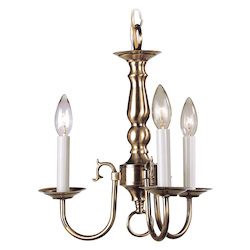 Livex Lighting Antique Brass 3 Light 180W Chandelier With Candelabra Bulb Base