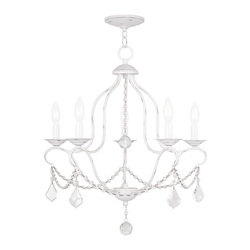 Livex Lighting Five Light Antique White Up Chandelier
