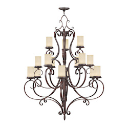 Livex Lighting Imperial Bronze Millburn Manor 15 Light 3 Tier Chandelier